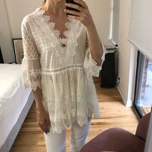 White /off white lace crochet top small
